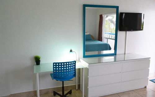 Desk and Mirror living area