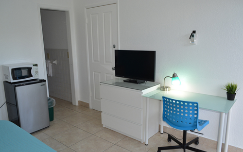 Double room with small fridge